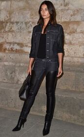 jeans,boots,over the knee boots,lily aldridge,paris fashion week 2016,model off-duty,denim jacket,denim,shoes