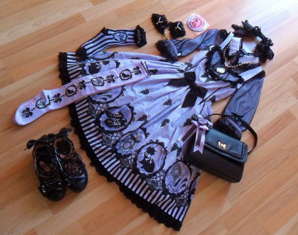 dress kawaii goth lolita sweet all purple hat bag shoes
