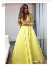 dress,yellow,yellow dress,long dress,long sleeve dress,long prom dress,long sleeves