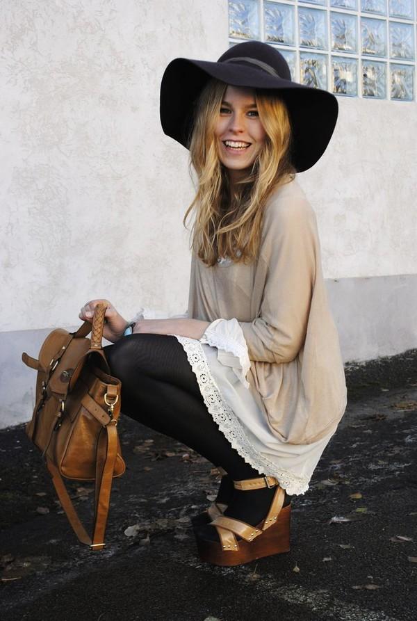 black hat red hat shoes blouse dress bag hat