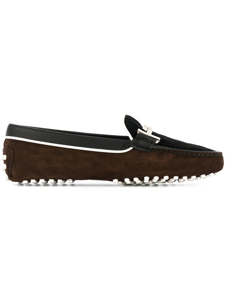TOD'S women loafers leather suede velvet brown shoes