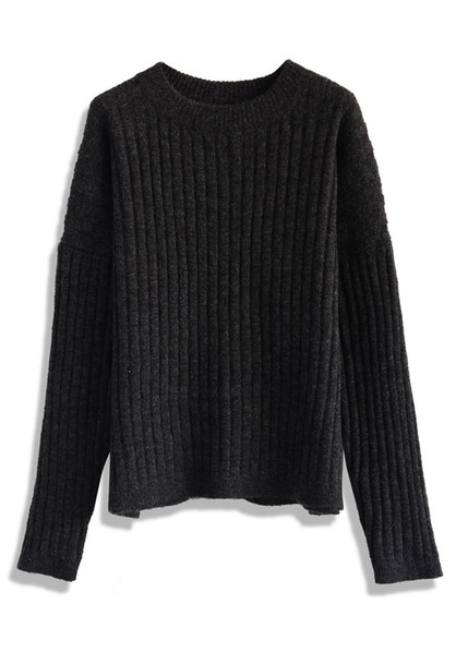 Sweater: chunky ribbed sweater in black, chicwish, black - Wheretoget