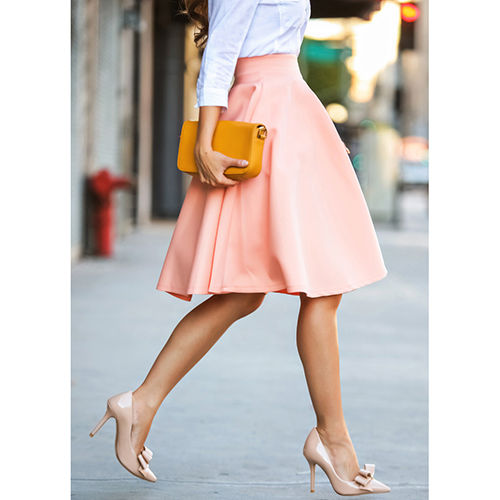 Women Light Pink A-Line Pleated Polyester Midi Skirt Ball Bubble ...