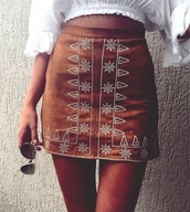 shirt,suede skirt,skirt,camel suede skirt,bohemian,aztec,brown,suede,short skirt,white,aztec skirts,mini skirt,summer