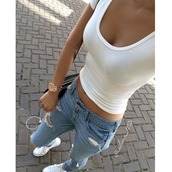 jeans,watch,casual,top,tight,t-shirt,blouse,want everything,white top,ripped jeans