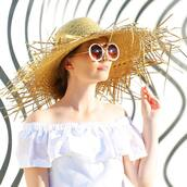 hat,tumblr,sun hat,big hat,sunglasses,round sunglasses,white sunglasses,dress,off the shoulder,off the shoulder dress