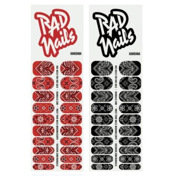 bandana print, paisley, red, black, nail stickers, nail polish ...
