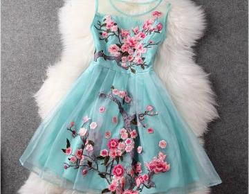 Luxury Designer Gorgeous Embroidered Lace Dress - Light Blue on Luulla