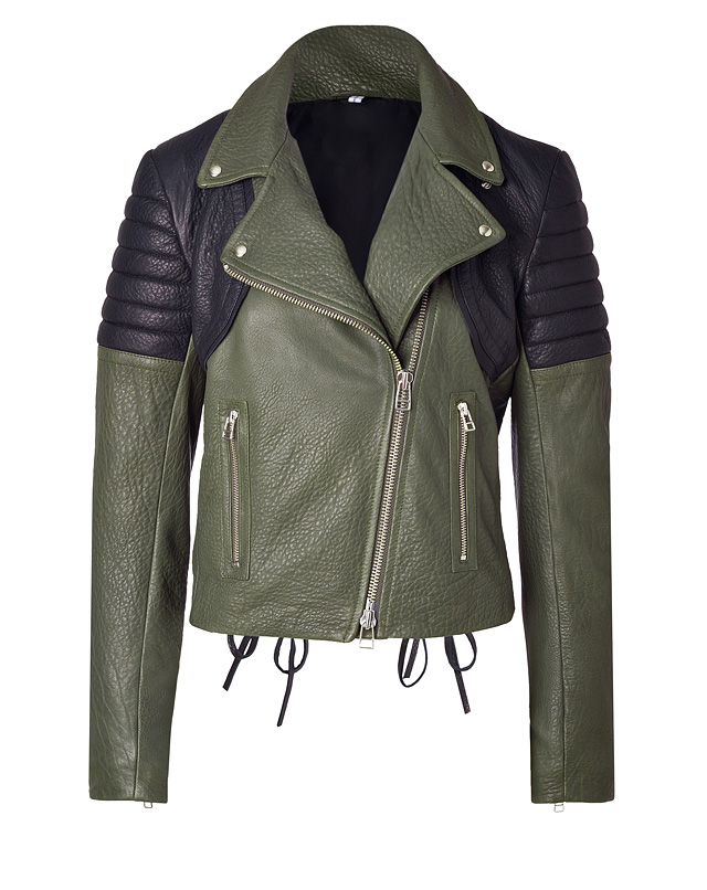Faith Connexion - Leather Jacket Perfecto in Khaki