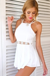 romper,zaful,jumpsuit,beige playsuit,dress,top,bottoms,outfit,floral,clothes,hollow dress,hollow out,sexy,cute,beautiful,fashion,summer,necklace,backless,white,lace,girl,skirt