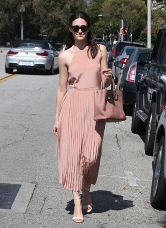 dress emmy rossum midi dress summer dress sandals blush pink