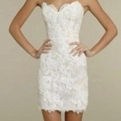dress,white,strapless,lace,short