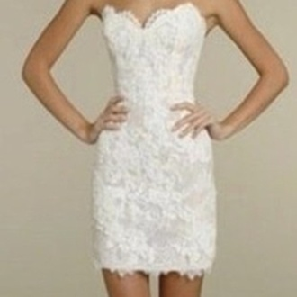 dress white strapless lace short