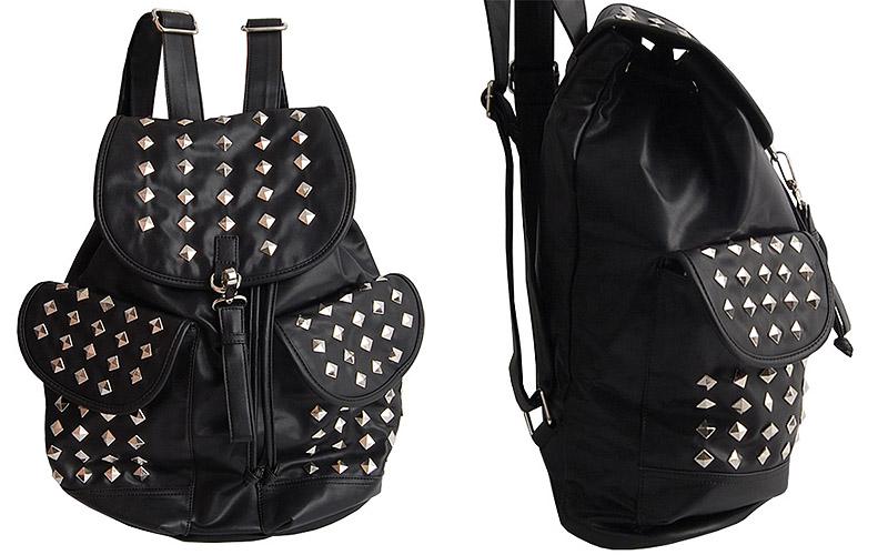 Black Shiny Metal Stud School Punk Backpack / Mans & Womens College Bag | eBay