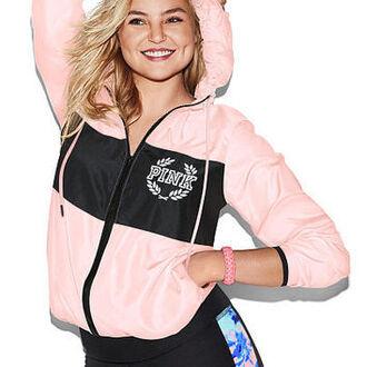 jacket pink by victorias secret black windbreaker
