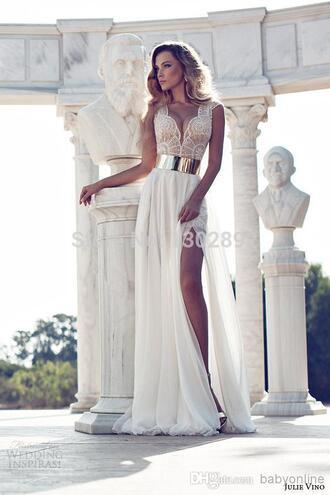 v-neck split side prom dresses long white party dresses prom gown with belt chiffon dresses