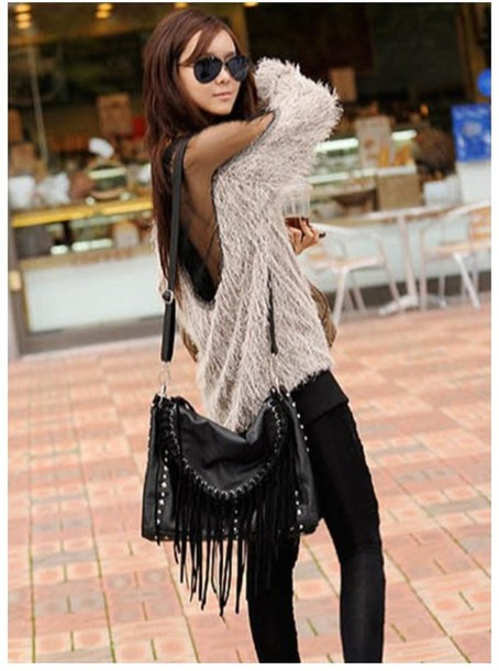 sweater white cream white sweater clothes purse big purse fringes leather fringe bag fringed bag mohair mohair sweater winter outfits chic cute mesh leather pants leather bag