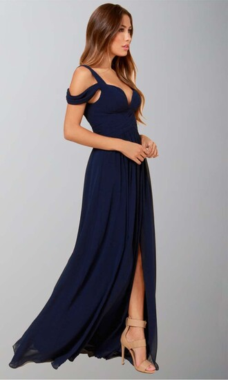 dress prom navy slit long dress boho dress