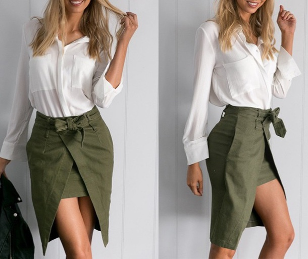 skirt girly cargo green spring outfits white