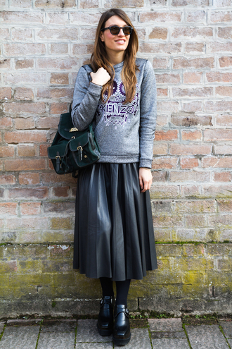 style and trouble blogger sweater shoes skirt sunglasses