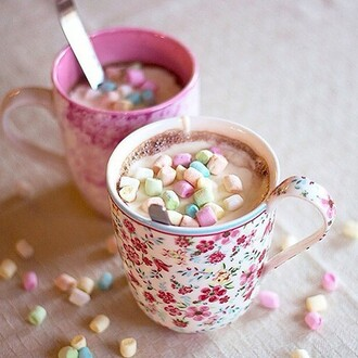 home accessory mug cup tea mashmallows floral flowers nice lovely tea time yummy hot chocolate marshmallows liberty