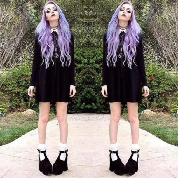 933ab080c107 dress white collar black emo goth purple short long loose baggy shoes socks  pretty cute sweater