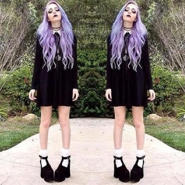 White collar black emo goth purple short long loose baggy
