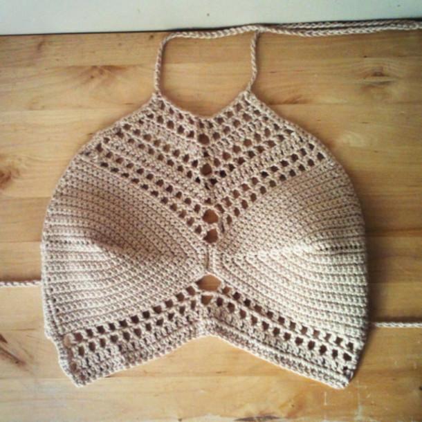 Shirt: handmade, hippie, knitted top, crochet top, crochet ...