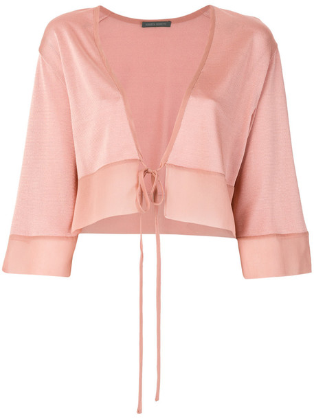 Alberta Ferretti cardigan cardigan cropped women tie front silk purple pink sweater