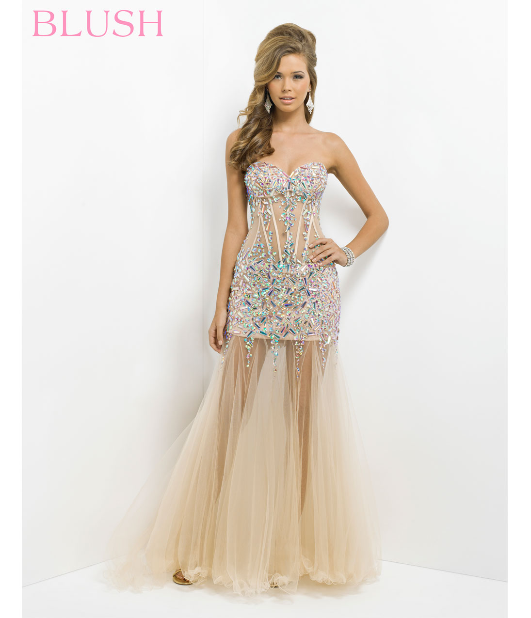 Blush 2014 Prom Dresses - Pink & Nude Sheer Sexy Prom Dress - Unique Vintage - Prom dresses, retro dresses, retro swimsuits.