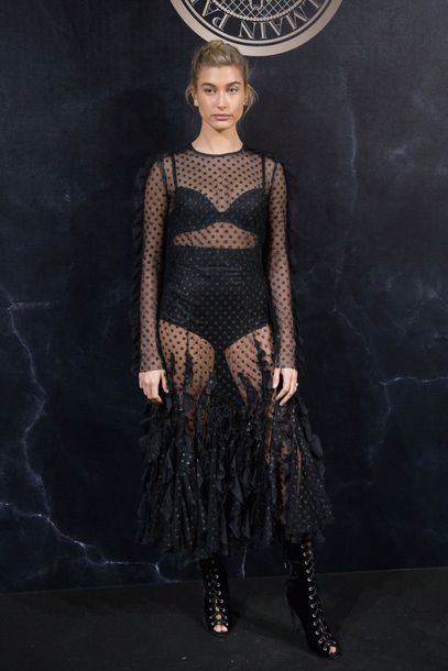 dress see through see through dress black dress gown sheer hailey baldwin underwear Paris Fashion Week 2017 booties polka dots shoes