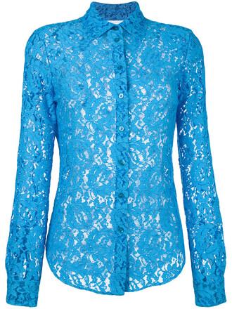 blouse women lace blue top