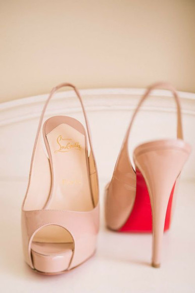 shoes beige shoes high heels red bottom heels peach