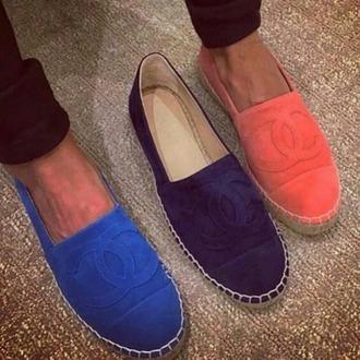 shoes wild leather chanel espadrilles orange