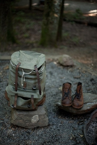 bag backpack need this bagpack brow retro grunge cool moro green nature travel camping shoes