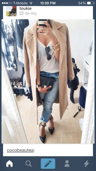 nude pea coat jacket jeans jewels coat beige jacket long coat top white top ripped jeans heels boyfriend jeans boyfriend tshirt whole oufit classy shoes accessories pants purse sunglasses beige suede