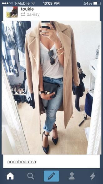 coat heels classy jeans