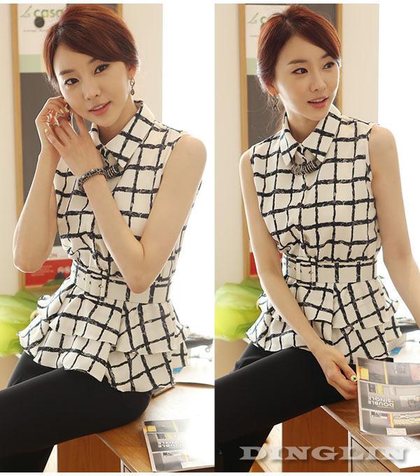 Women korean fashion sleeveless turn down collar chiffon plaid check sashes casual peplum tops shirts blouse free shipping 0914