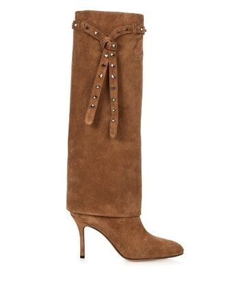 punky high boots suede boots suede tan shoes