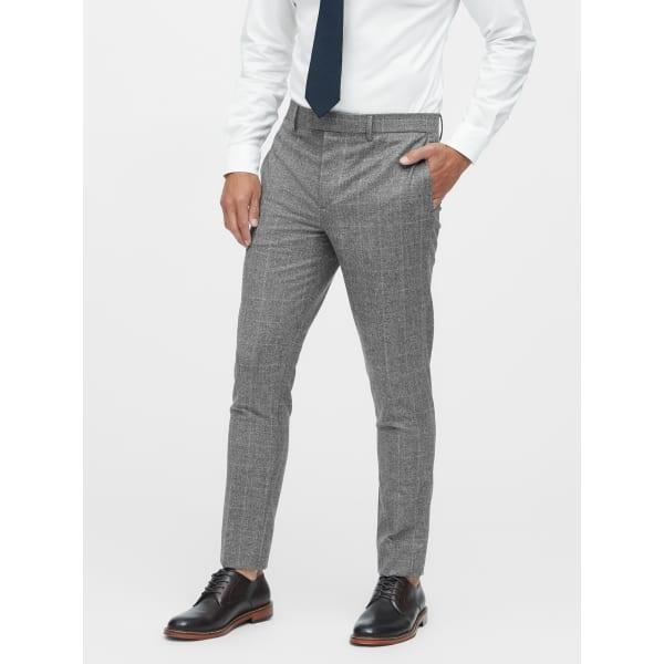 Banana Republic Men's Slim Tapered Italian Wool Plaid Suit Pant Gray Regular Size 33W
