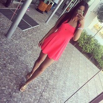 dress pink dress mini dress pink mini dress pink outfit style pretty girly cute necklace