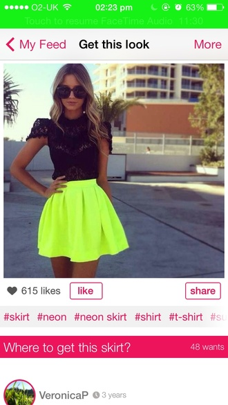 shirt yellow neon black pretty dress top skirt blonde hair sunglasses summer formal