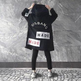 coat kpop black bigbang made made tour hood k-pop black coat bigbang gdragon korean kpop korea bandshirt asian designer bigbang kfashion