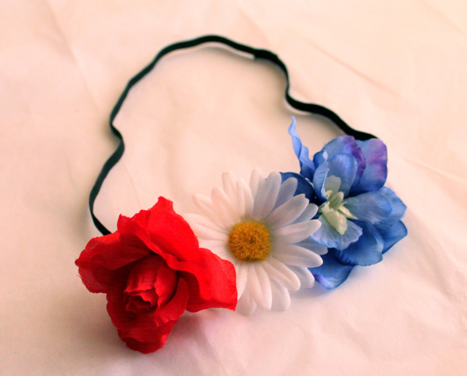 Red White And Blue Flower Headband July 4th Headpiece Cute