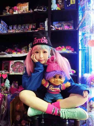 hat beanie kawaii kawaii grunge pastel pastel pink shoes socks jewels tumblr girl tumblr pastel girl joyrich x giza blouse