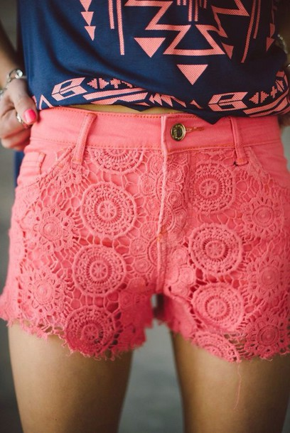 shorts coral pink lace overlay