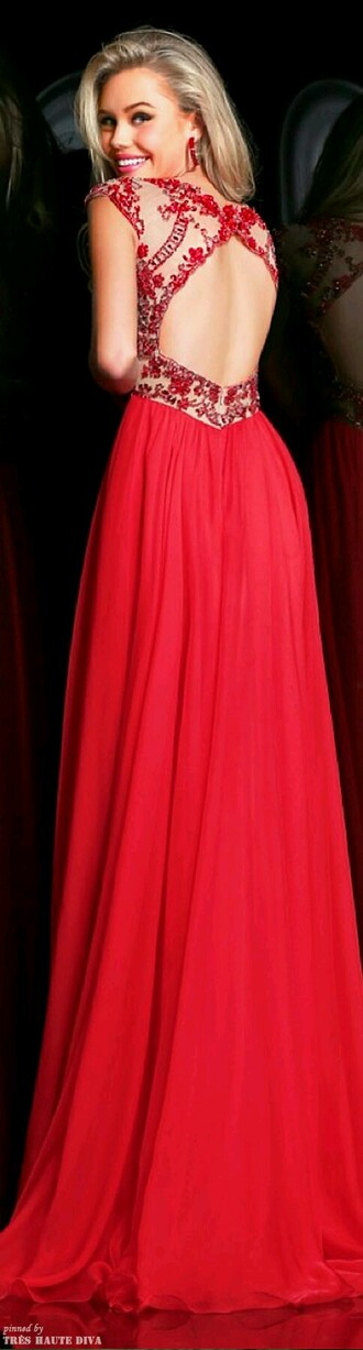 unique prom dress beautiful dress red dress red prom lace