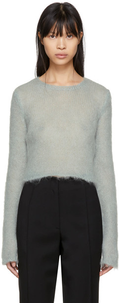 Saint Laurent sweater cropped mohair blue