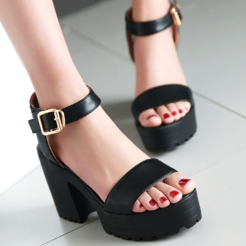 fe909151c26e Women Sandals Vintage Square High Heels Shoes Adjustable Buckle Open Toe Thick  Platform Sandals Ankle Strap ...