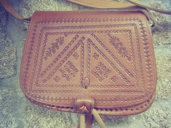Tooled caramel leather bag hand applique embroidery by chicutopia